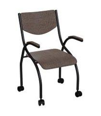 cadeira de escritório secretária colorado estofada preta e marrom
