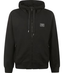 dolce & gabbana logo patch zipped hoodie
