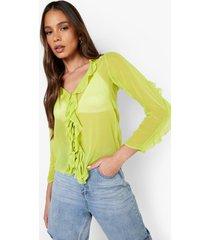 chiffon blouse met ruches en strik, chartreuse