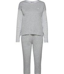 lrl l/s drop shoulder jogger pant pj set pyjamas grå lauren ralph lauren homewear