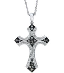 diamond cross pendant necklace in sterling silver and black rhodium (1/4 ct. t.w.)