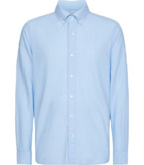 calvin klein button down cotton linen shirt licht blauw