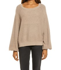 women's free people found my friend boucle pullover, size medium - grey