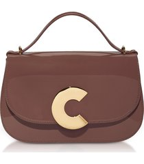 coccinelle designer handbags, craquante patent maxi leather satchel bag