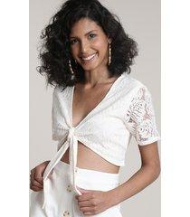 top cropped feminino em renda com amarração manga curta decote v off white