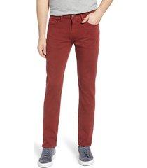 men's paige transcend - federal slim straight leg jeans, size 35 x 30 - red