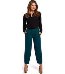 broek style s187 broek met knopen - groen