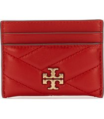 tory burch women's kira chevron card case - black