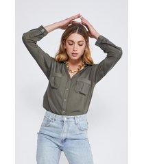 blusa con bolsillos verde mujer sioux