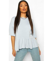 peplum puff sleeve top, light blue