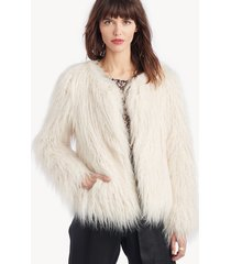 sanctuary women's studio fifty fur cropped jacket in color: salt size large from sole society