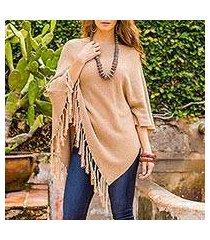 cotton poncho, 'spontaneous style in tan' (guatemala)