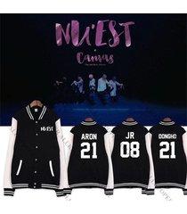 kpop nuest 5th mini album baseball uniform unisex nu'est varsity jacket aron ren
