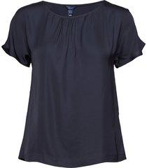 o1. silky blouse blouses short-sleeved blauw gant
