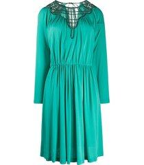 alberta ferretti woven neckline dress - green