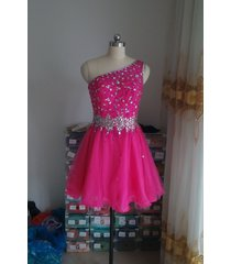 short beaded ball gown one shoulder fuchsia tulle prom homecoming dresses 2017