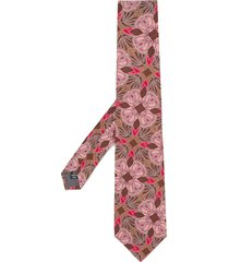 gianfranco ferré pre-owned 1990s rose jacquard tie - brown