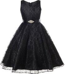 black sleeveless lace v-neck flower girl pageant birthday wedding formal dress