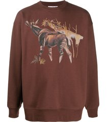 acne studios okapi print sweatshirt - brown