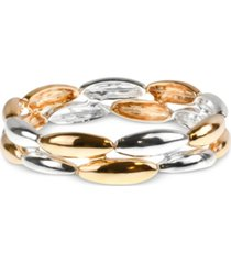 charter club two-tone oval double-row stretch bracelet, created for macy's