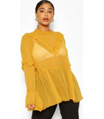 plus dobby mesh blouse met ruches, mosterd