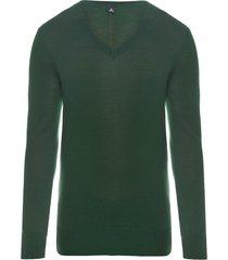 sweater masculino gola v merino - verde