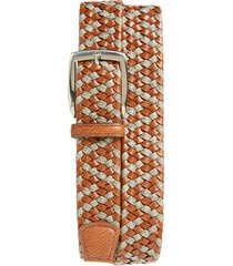 men's big & tall torino braided leather & linen belt, size 46 - cognac/ taupe