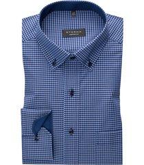 eterna overhemd comfort fit blauw geruit