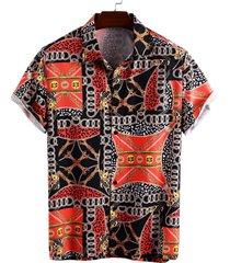hombre verano hawaii algodón bufanda estampado bohemio playa vacaciones camisa