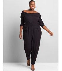 lane bryant women's softest touch one-shoulder jumpsuit 34/36 black