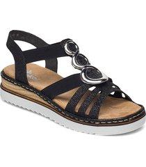679l4-80 shoes summer shoes flat sandals svart rieker
