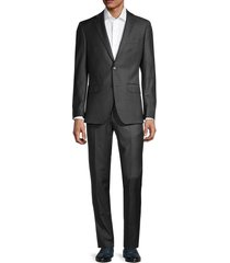 saks fifth avenue men's modern-fit wool check suit - charcoal - size 44 r