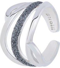 anello regolabile in ottone rodiato con onda glitter per donna