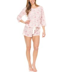 laundry by shelli segal women's waffle knit three quarter sleeve top matching shorts loungewear set