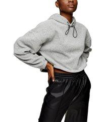 women's topshop crop fleece hoodie, size medium - grey