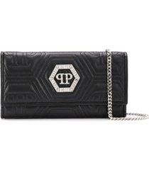 philipp plein crystal clutch bag - preto