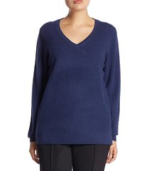 plus v-neck cashmere knitted sweater
