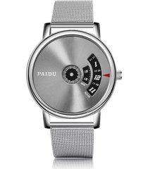 reloj cuarzo dial giratorio malla acero w070301-2 negro plateado