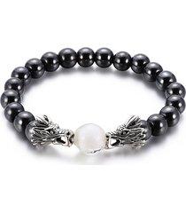 buy online 64425 8f87a braccialetti con perline vintage braccialetto con doppia testa di drago in  pietra gallenaria nera per uomo
