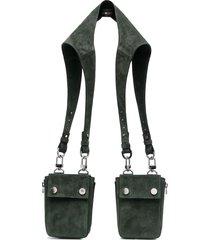 amiri double-pouch messenger bag - green