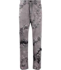 off-white tie-dye straight-leg jeans - grey