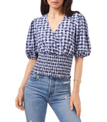 1.state v-neck smocked top, size small in gingham floral at nordstrom
