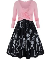 plus size crossover skeleton moon and star long sleeve dress