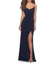 women's la femme ruched jersey trumpet gown, size 0 - blue