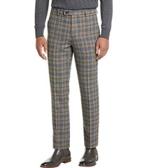 paisley & gray slim fit suit separates pants blue & taupe plaid
