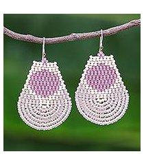 beaded dangle earrings, 'si thep treasure in lilac' (thailand)