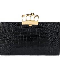 alexander mcqueen four ring embossed clutch bag - black