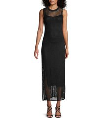 theory women's sheer overlay maxi dress - black - size s