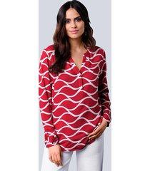 blouse alba moda rood::offwhite