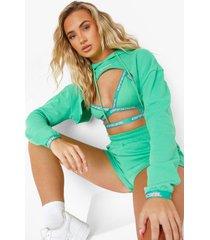 official hoodie met uitsnijding, green